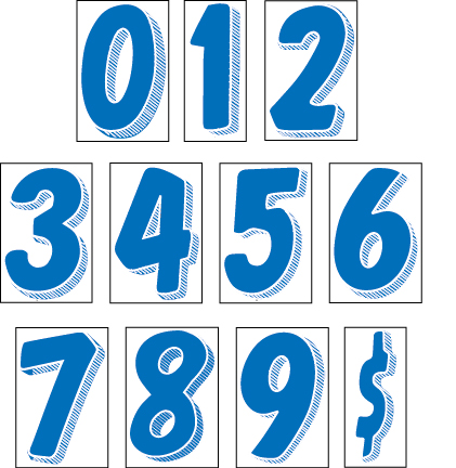 Advertising window stickers 7 5 blue and white number for Window number