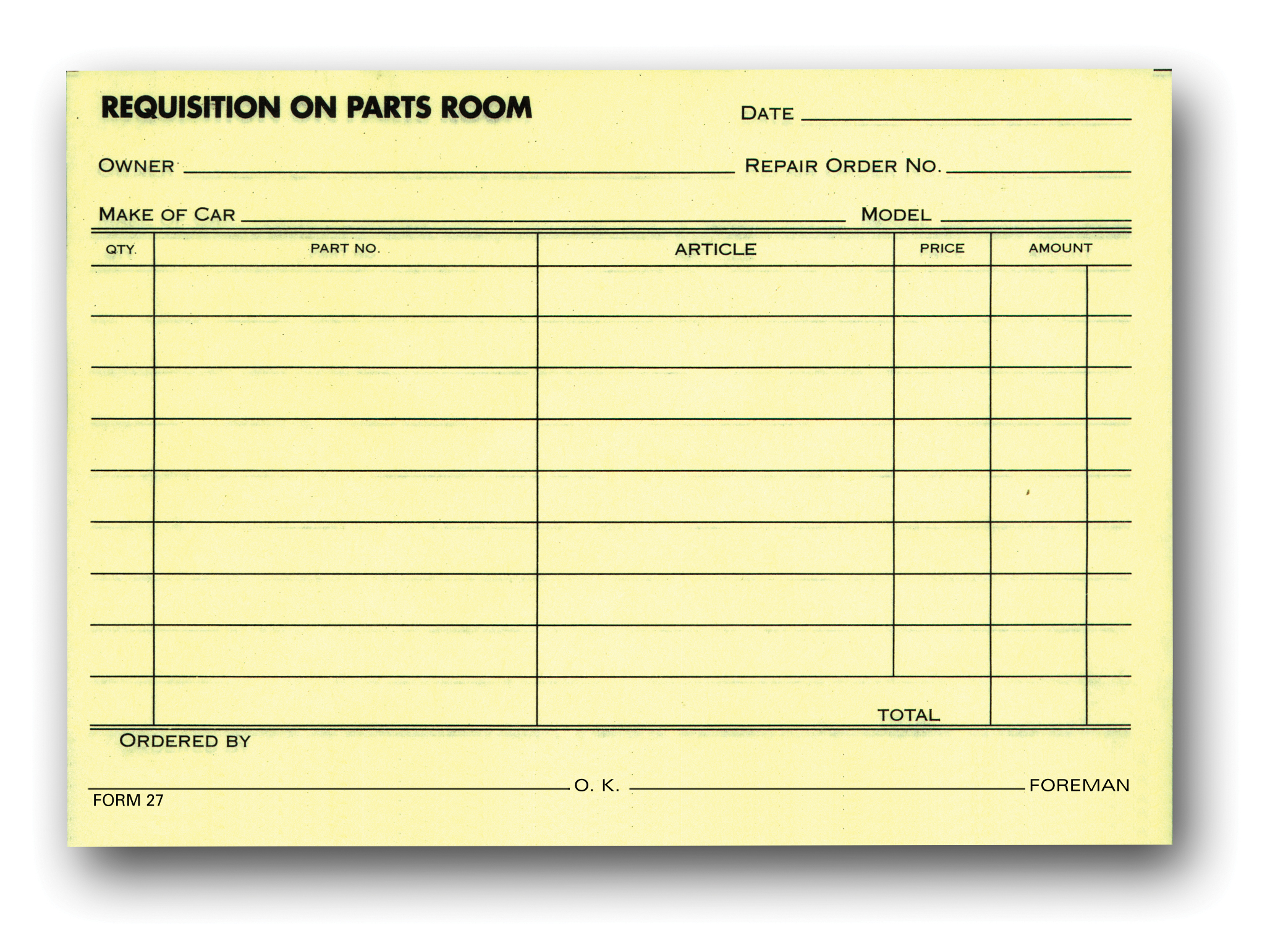 Parts Requisition Forms Aftermarket Specialties